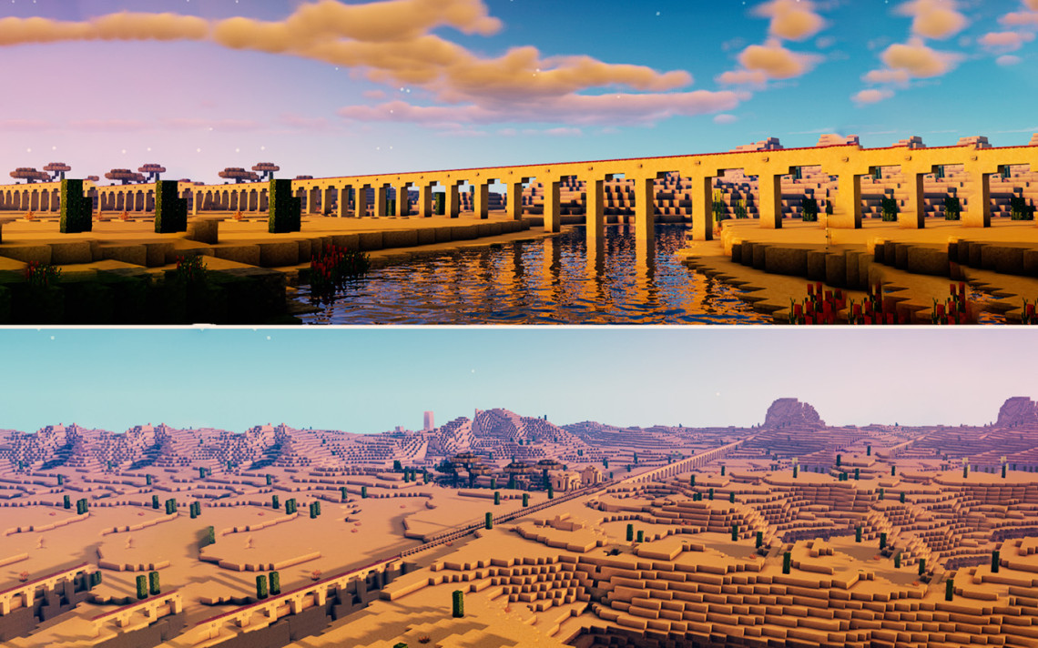 изображение для записи Игрок Minecraft построил Пустынный Виадук